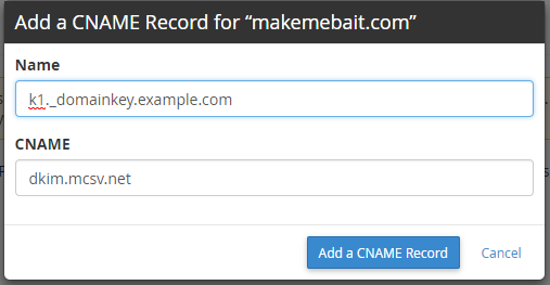 Adding CNAME Record in cPanel