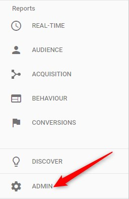 Google Analytics Account Admin Menu
