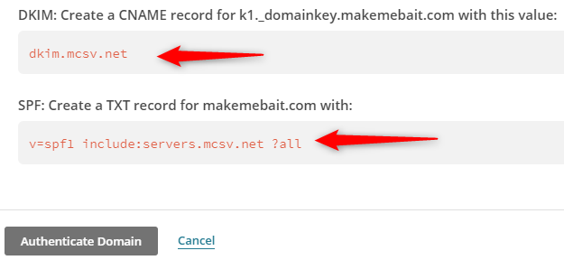 MailChimp DKIM and SPF Values