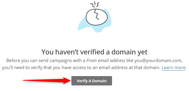 Domain Verification Process Initiation on MailChimp