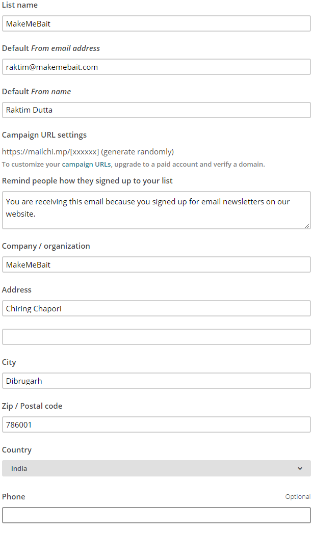 MailChimp List Form