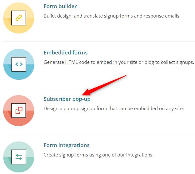 MailChimp SignUp Form Types