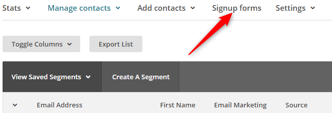 Signup Form Option in MailChimp