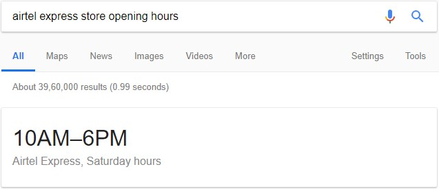 Store Opening Hours in Google's Featured Snippet